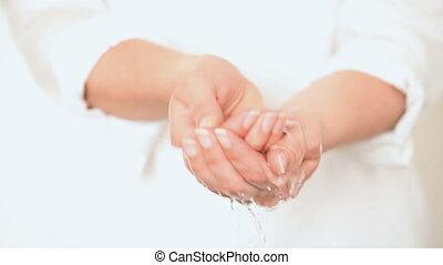 Washing Hands in Water Closeup