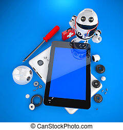 Android robot repairing tablet pc. Technology concept