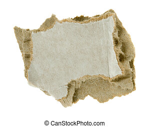 torn piece of corrugated fiberboard isolated on a white...