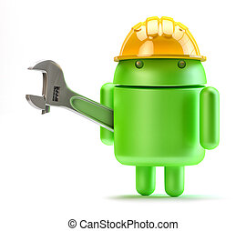 Android with adjustable wrench. Technology concept.