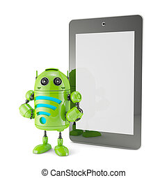 Android with WiFi symbol and blank screen tablet.