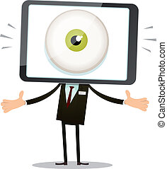 Big Brother Eye In Mobile Phone Head - Illustration of a...