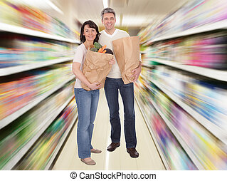 Senior Couple With Grocery Bag