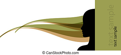 banner template with female profile silhouette vector...