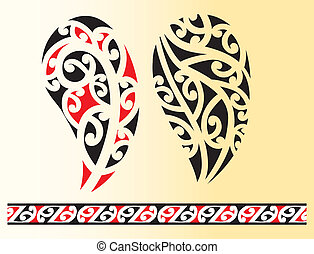 Set of maori tribal tattoo