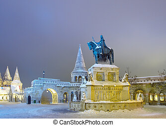 Fishermans Bastion in Budapest, Hungary - Stephen I monument...
