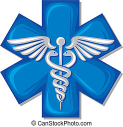 caduceus medical symbol emblem for drugstore or medicine,...