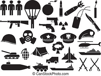military icons knife, handgun, bomb, bullet, gas mask,...