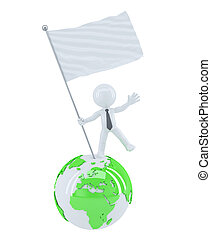 Businessman with blank flag on top of the globe