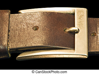 Belt buckle - Classic belt buckle isolated on a black...