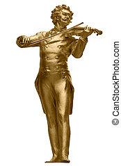 Johann Strauss Golden Statue on white - Johann Strauss...