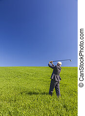 Business Man Businessman Playing Golf in Green Field