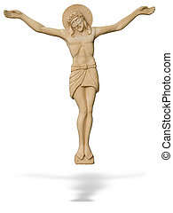 Wooden statue of The crucified Jesus Christ isolated over...
