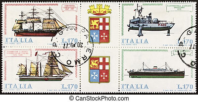 Ships postage stamp block quater - ITALY ? CIRCA 1977: a...