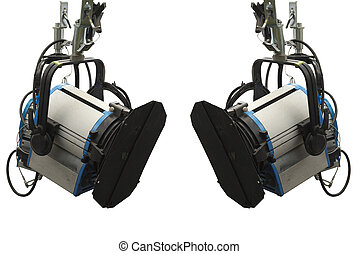 Studio lighting stage equipment isolated over white...