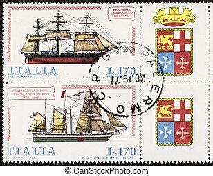 Ships postage stamp block quinquies
