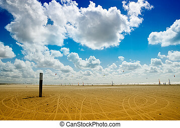 land sailing on the beach - beach in summer with a lot of...