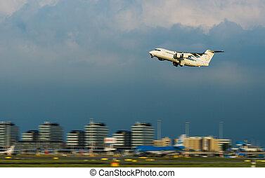 samolot, od, wziąć