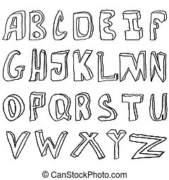 Hand drawing alphabet vector illustration