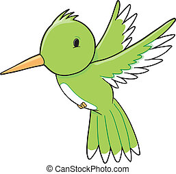 Humming Bird Vector - Cute Humming Bird Vector Illustration...