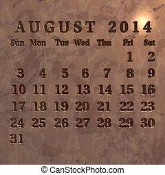 Calendário, agosto,  2014