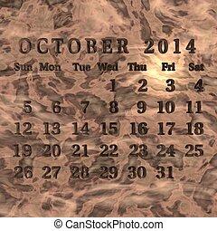 Calendário, outubro,  2014
