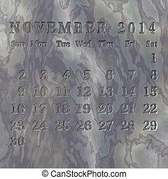 Calendário, novembro,  2014