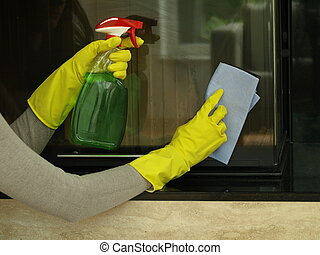 Housekeeping - Cleaning the fireplace window with detergent...