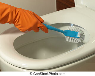 Cleaning toilet - Cleaning the toilet bowl with blue brush