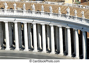 Colonnade designed by architect BERNINI in St Peters square...