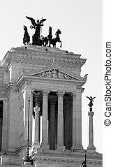 white monument called Vittoriano - detail of immense white...