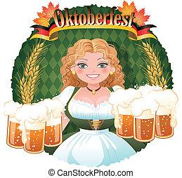 Bavarian Girl serving beer - October fest - Bavarian Girl...