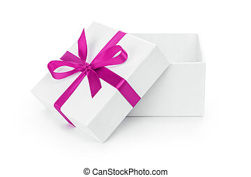 open white textured gift box with purple ribbon bow,...