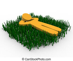 Daydreaming in the Grass - Figure lying in a grassy field...
