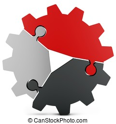 3d business teamwork, partnership and success concept gear...
