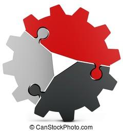3d business teamwork, partnership and success concept gear...