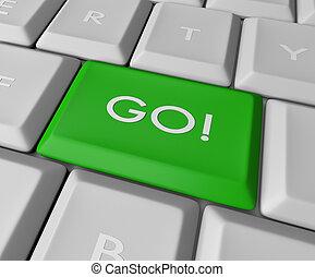 Green Go Key Button
