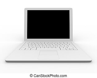 White laptop computer - Place your own image or message on...