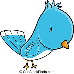Cute Blue Bird Vector Illustration