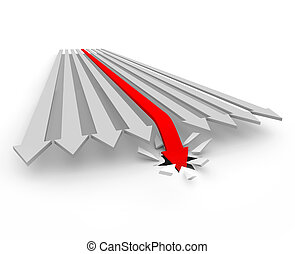 Arrow Falls through the Floor - A red arrow loses the race...