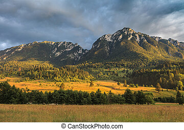 mountain landscape in Piatra Craiului Mountains, Romania