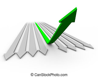 Arrow Up to Success 1 - One green arrow rises up from a...