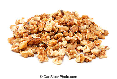 Chopped walnuts, isolated on a white background