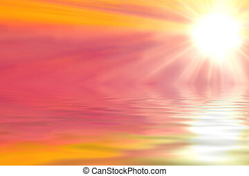 Bright sun on pink and orange sky over the sea