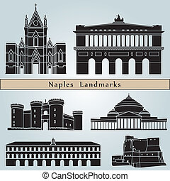 Naples landmarks and monuments isolated on blue background...