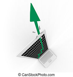 Growth Arrow Bursts From Computer Screen - A green growth...