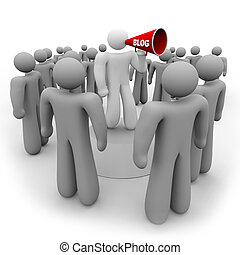 Blogger with Bullhorn and Audience - A blogger speaks to his...