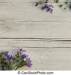 Blue flowers on painted textured wood - Pretty dainty blue...