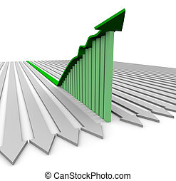 Green Growth Arrow - Bar Graph - A green growth arrow rises...