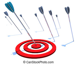 Hitting the Bulls Eye - One arrow hits the bulls eye while...